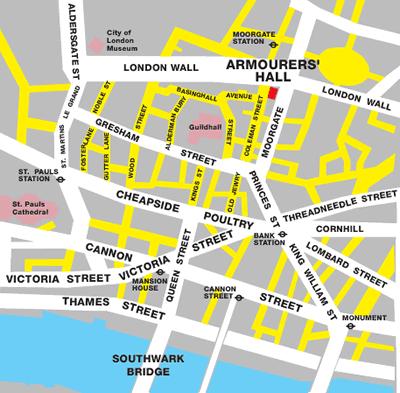Armourer's Hall map